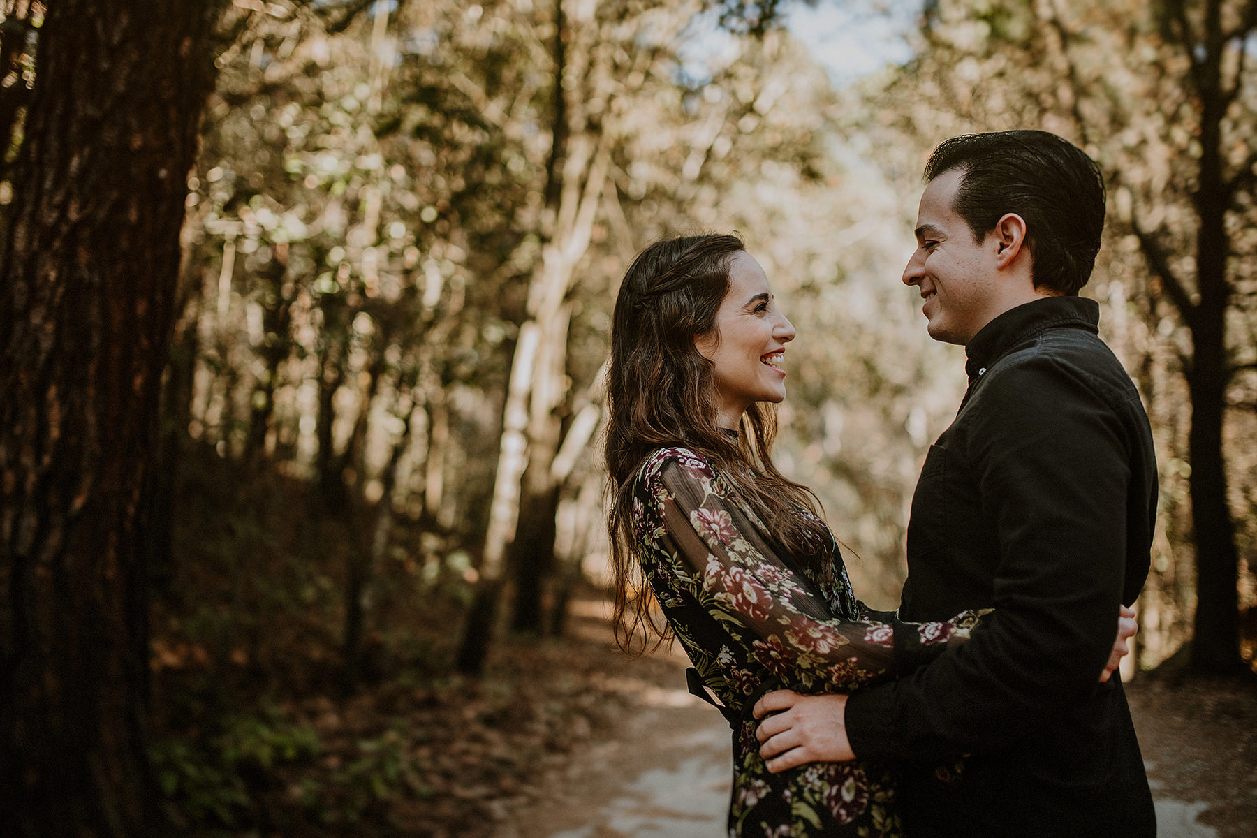 alternative engagement session in the woods